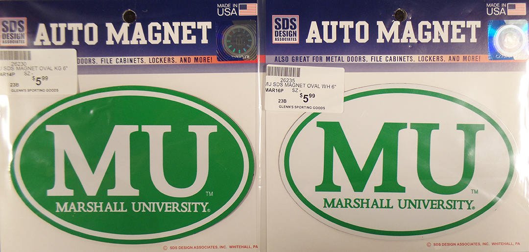 MU Car Magnet <br> Green 26230 <br> White 26235 <br> $5.99 each